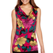 Worthington® Sleeveless Printed Cowlneck Top