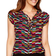 Worthington® Short-Sleeve Tie-Neck Blouse