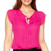Worthington® Short-Sleeve Tie-Neck Blouse