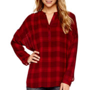 a.n.a® Long-Sleeve Plaid Blouse - Tall