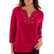 St. John's Bay® 3/4-Sleeve Embellished Top