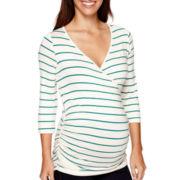 Maternity 3/4-Sleeve Striped Nursing Top