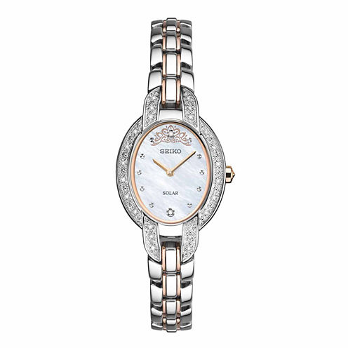 Seiko Womens Misty Copeland Limited Edition Tressia Solar with Diamond Accent Mother Of Pearl Dial Two Tone Bracelet Watch SUP327