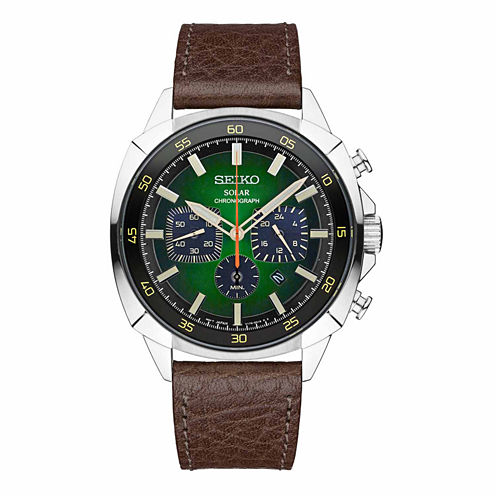 Seiko Mens Brown Strap Watch-Ssc513