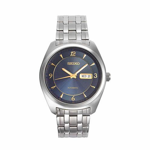 Seiko Mens Silver Tone Bracelet Watch-Snkp01
