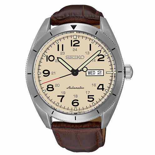 Seiko Mens Brown Strap Watch-Srp713