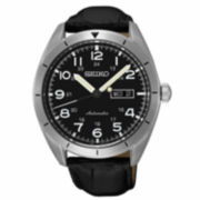 Seiko Mens Black Strap Watch-Srp715