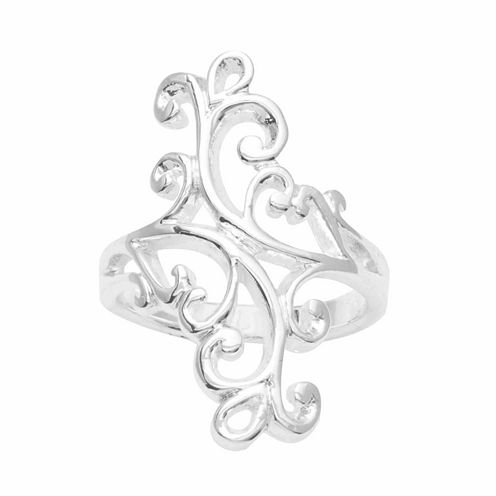 Sparkle Allure Womens Silver Over Brass Cocktail Ring