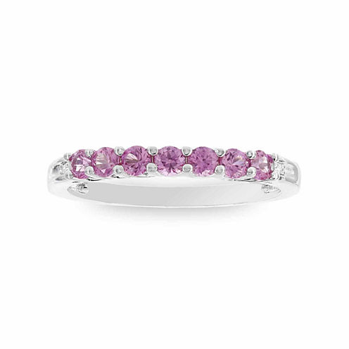 Womens Diamond Accent Round Pink Sapphire 10K Gold Stackable Ring