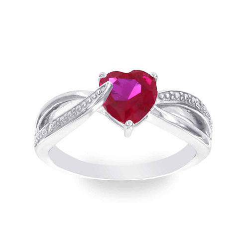 Womens Diamond Accent and Red Lab-Created Ruby Cocktail Ring in Sterling Silver