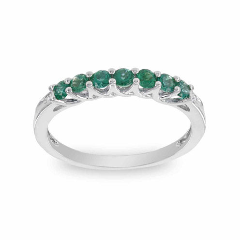 Womens Diamond Accent Round Green Emerald 10K Gold Stackable Ring