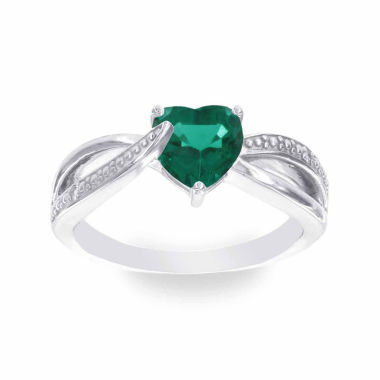 jcpenney.com | Womens Diamond Accent Green Emerald Sterling Silver Cocktail Ring