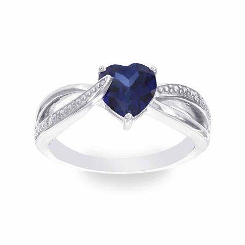 Womens Diamond Accent Blue Sapphire Sterling Silver Cocktail Ring