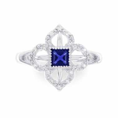 jcpenney.com | Womens 1/10 CT. T.W. Blue Sapphire 14K Gold Cocktail Ring