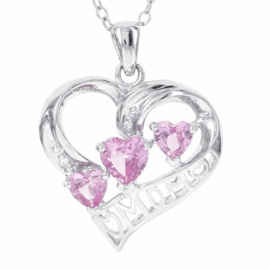 jcpenney.com | Womens Diamond Accent Pink Sapphire Sterling Silver Pendant Necklace