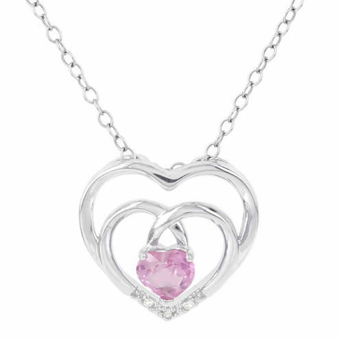 Womens Diamond Accent Pink Sapphire Sterling Silver Pendant Necklace