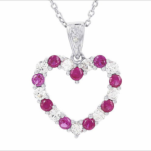 Womens Red Lab-Created Ruby and Diamond Accent Heart Shaped Pendant Necklace in Sterling Silver
