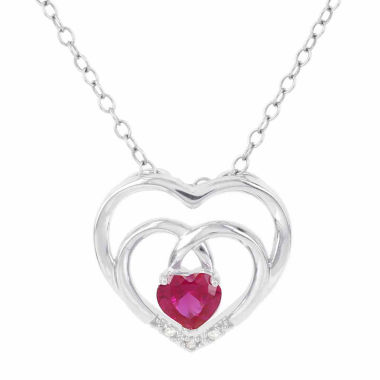 jcpenney.com | Womens Diamond Accent Red Ruby Sterling Silver Pendant Necklace