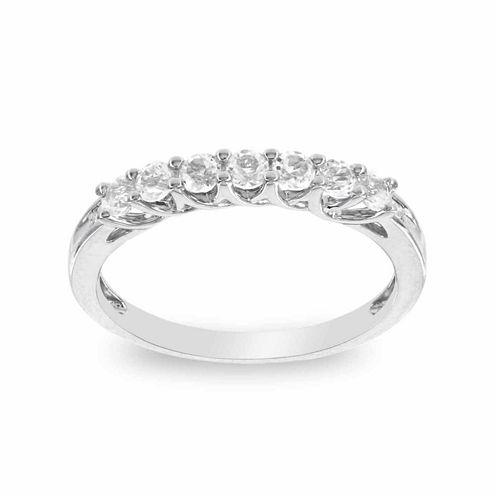 10K White Gold Genuine White Topaz & Diamond-Accent Stackable Ring