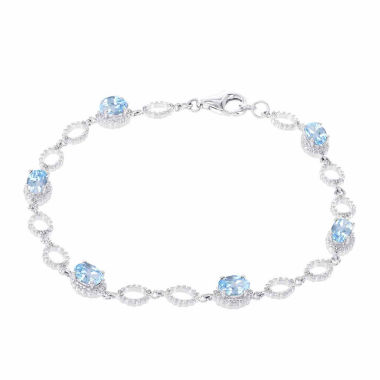 jcpenney.com | 14K White Gold 1/5 C.T. T.W. Diamond & Genuine Blue Topaz Bracelet