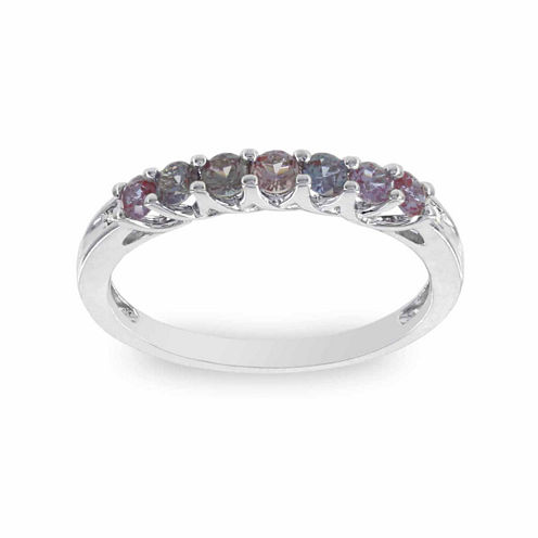 Womens Diamond Accent Round Purple 10K Gold Stackable Ring