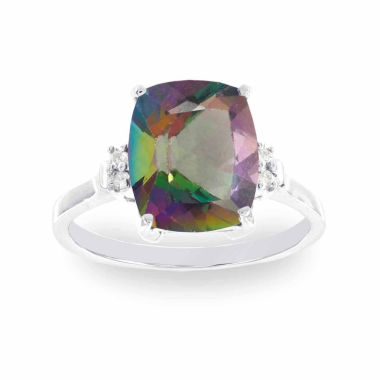 jcpenney.com | 10K White Gold Heart Genuine Mystic Fire Topaz Diamond-Accent Ring