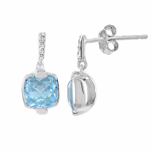 Sterling Silver 1 C.T. Genuine Blue Topaz & Diamond-Accent Earrings