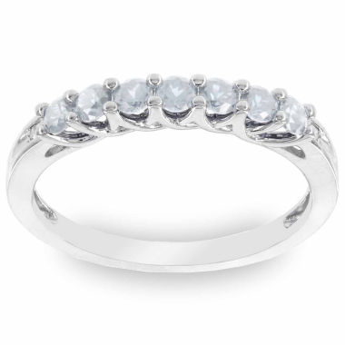 jcpenney.com | 10K White Gold Genuine Aquamarine & Diamond-Accent Stackable Ring