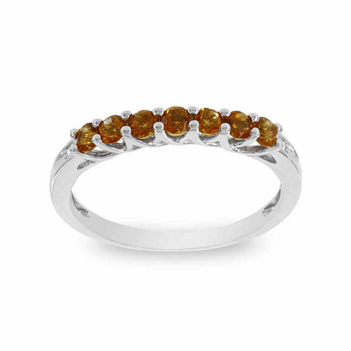10K White Gold Genuine Citrine & Diamond-Accent Stackable Ring