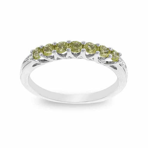 10K White Gold Genuine Peridot & Diamond-Accent Stackable Ring