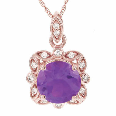 jcpenney.com | 14K Rose Gold Genuine Amethyst & Diamond-Accent Necklace