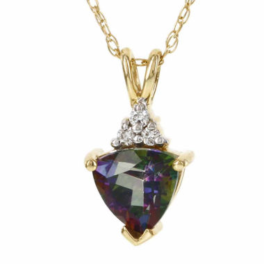 jcpenney.com | 10K Yellow Gold Genuine Mystic Fire Topaz Diamond-Accent Necklace