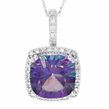 jcpenney.com | 10K White Gold 1/6 C.T. T.W. Diamond & Genuine Exotic Purple Topaz Pendant Necklace
