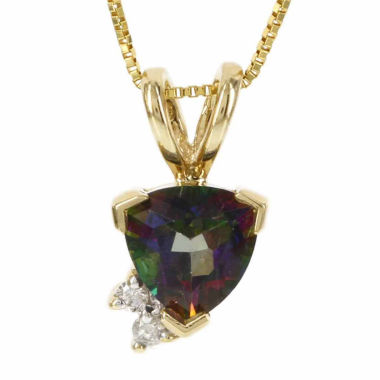 jcpenney.com | 14K Yellow Gold Genuine Mystic Fire Topaz Diamond-Accent Necklace