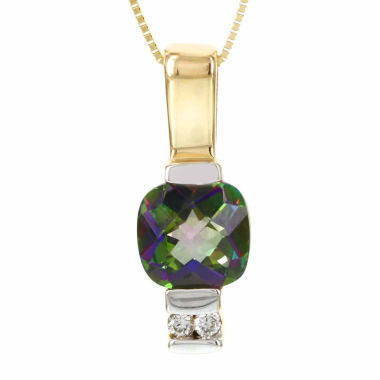 jcpenney.com | 14K Yellow Gold Cushion-Cut Genuine Mystic Fire Topaz Diamond-Accent Necklace