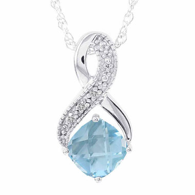 jcpenney.com | 14K White Gold Genuine Blue Topaz & Diamond-Accent Necklace