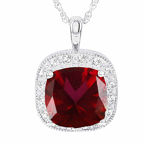 Coated 1/6 CT. T.W. Red Topaz White 14K Pendant Necklace
