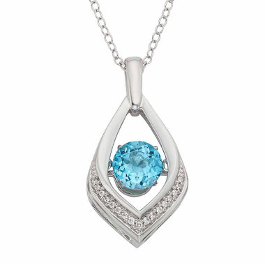 jcpenney.com | Sterling Silver Genuine Blue Topaz Diamond-Accent Pendant Necklace
