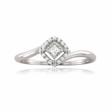 jcpenney.com | Womens 1/10 CT. T.W. Princess White Diamond 10K Gold Engagement Ring