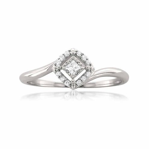 Womens 1/10 CT. T.W. Princess White Diamond 10K Gold Engagement Ring