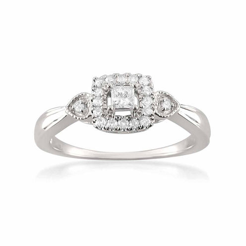 Womens 1/4 CT. T.W. Princess White Diamond 10K Gold Engagement Ring