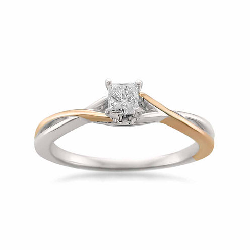 Womens 1/4 CT. T.W. Princess White Diamond 14K Gold Engagement Ring