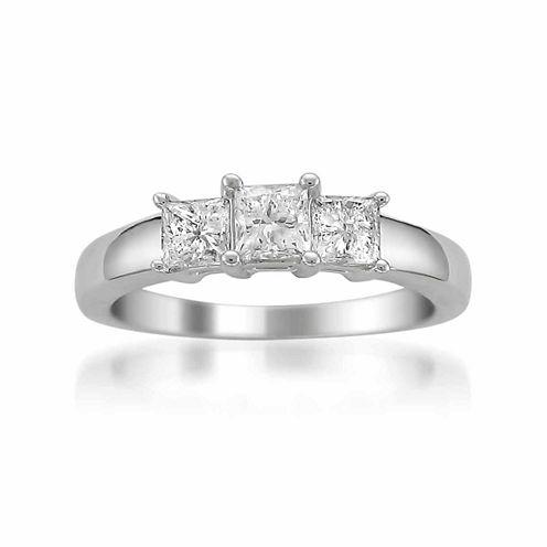 Womens 1 CT. T.W. Princess Diamond Platinum 3-Stone Ring