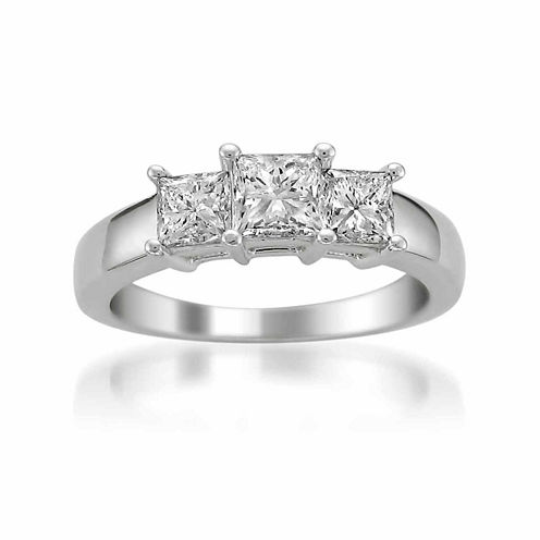 Womens 1 1/2 CT. T.W. Princess Diamond 14K Gold 3-Stone Ring