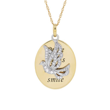 jcpenney.com | Womens White Crystal Gold Over Silver Pendant Necklace