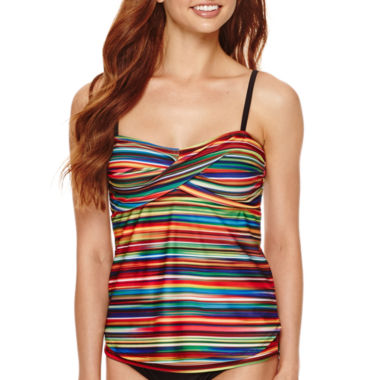 jcpenney.com | a.n.a® Ombre Striped Twist Swim Tankini Top