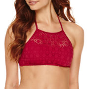 a.n.a® High-Neck Red Crochet Halter Swim Top