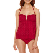 a.n.a® Red Crochet Tankini Swim Top or Crochet Hipster Swim Bottoms