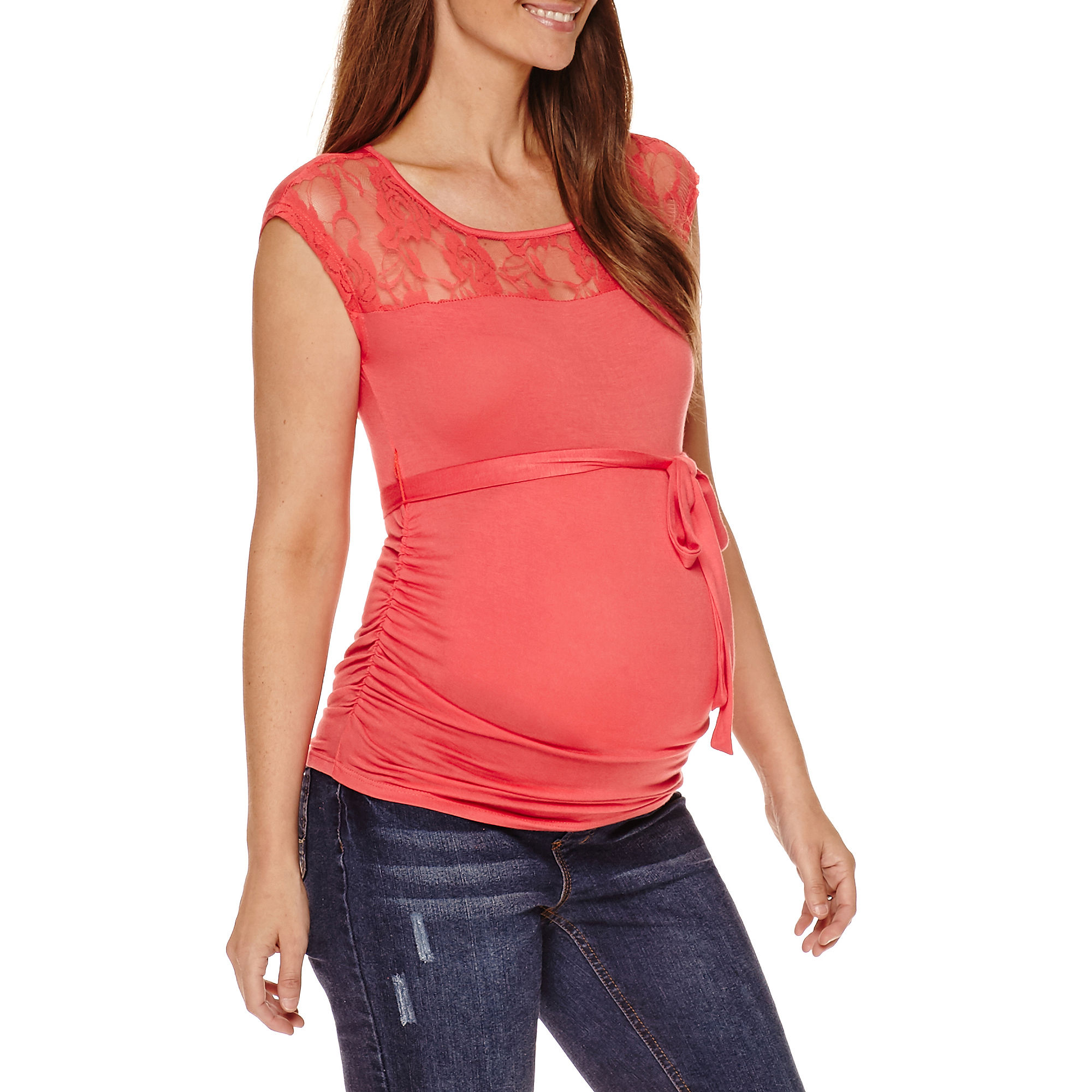 Planet Motherhood Maternity Sleeveless Lace-Yoke Tee plus size,  plus size fashion plus size appare