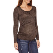 Planet Motherhood Maternity Long-Sleeve Hatchi Top- Plus